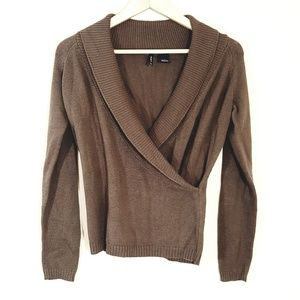 New Directions // Soft Brown Mock Wrap Sweater